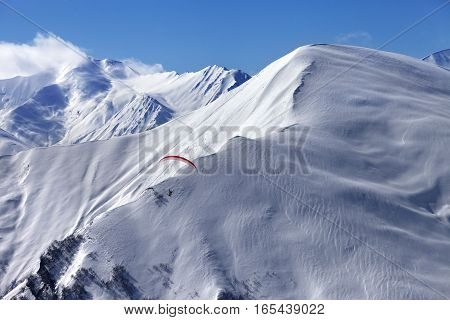 Speed Flying In Snow Winter Mountains