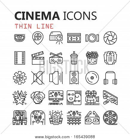 Simple Set of Cinema Related Vector Line Icons.  Contains such Icons as Movie Theater, TV, Popcorn, Video Clip and more.  Editable Stroke