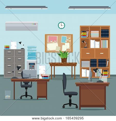 office workspace desk chair table plant furniture books cabinet water clock vector illustration