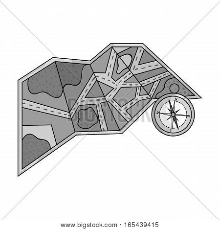 Travel map and compass icon in monochrome design isolated on white background. Family holiday symbol stock vector illustration.