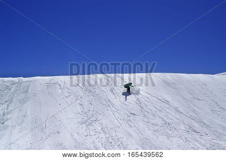 Snowboarder In Terrain Park And Blue Clear Sky At Ski Resort