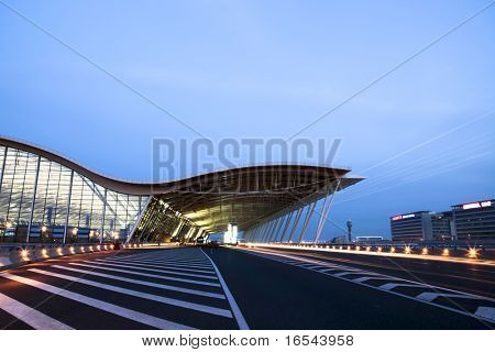 the night view of the pudong airport.