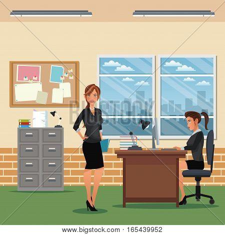 women workspace office desk chair cabinet board notice window vector illustration