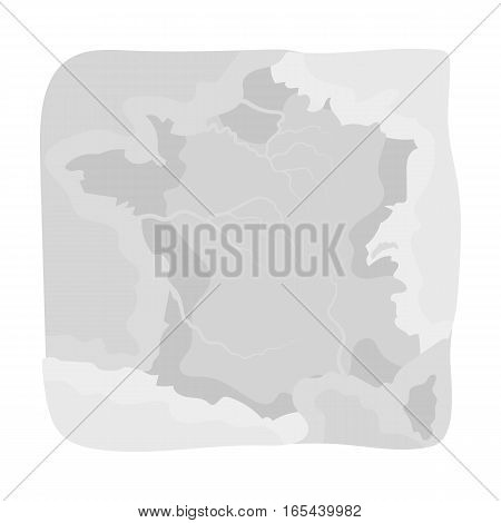 Territory of France icon in monochrome design isolated on white background. France country symbol stock vector illustration. - stock vector