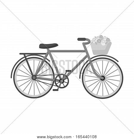 Pink bicycle with basket icon in monochrome design isolated on white background. France country symbol stock vector illustration. - stock vector