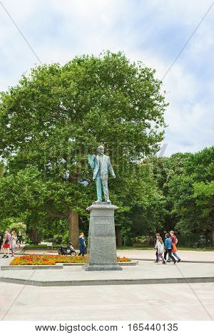 YALTA CRIMEA RUSSIA - JUNE 08.2016: the Monument to architect Nikolai Krasnov on the city's waterfront.