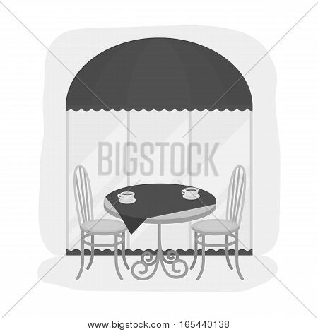 Served table near cafe icon in monochrome design isolated on white background. France country symbol stock vector illustration. - stock vector