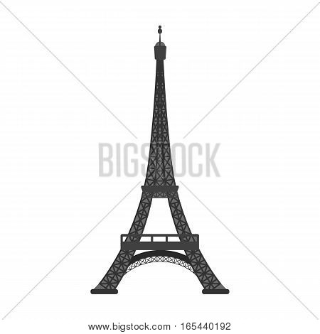 Eiffel tower icon in monochrome design isolated on white background. France country symbol stock vector illustration. - stock vector