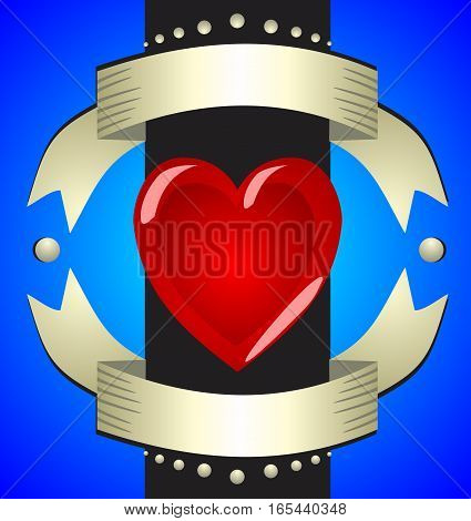 Beautiful voluminous glamor sign love heart on a contrasting blue background with bright golden ribbons.