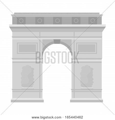 Triumphal arch icon in monochrome style isolated on white background. France country symbol stock vector illustration. - stock vector