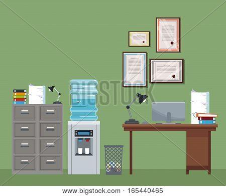 office workspace desk cabinet cooler water certificate trash can vector illustration eps 10