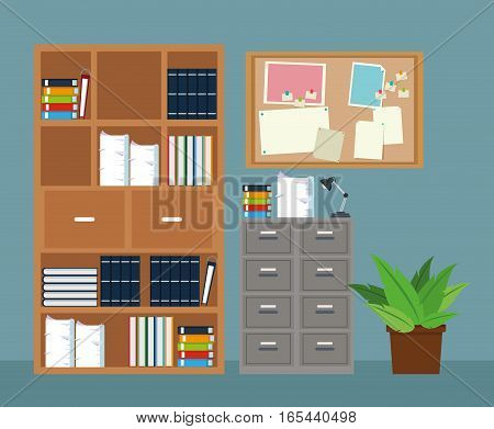 office furniture cabinet file potted plant notice board vector illustration eps 10
