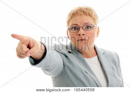 Pointing you angry woman isolated on white background