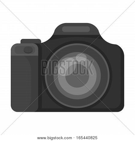 Digital camera icon in monochrome design isolated on white background. Rest and travel symbol stock vector illustration.