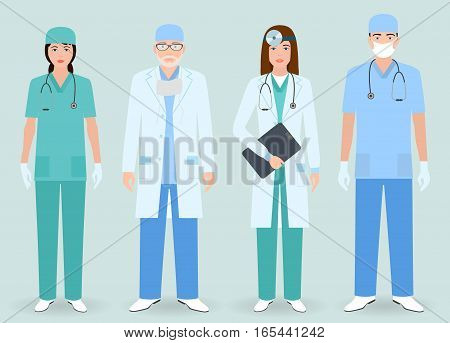 Hospital staff concept. Group of man and woman doctors nurses. Medical people. Flat style vector illustration.