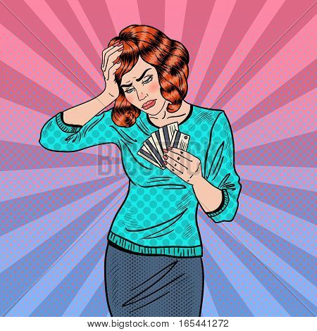 Pop Art Upset Woman with Credit Cards has a Headache. Vector illustration