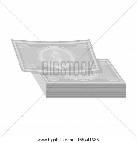 Pile of cash icon in monochrome design isolated on white background. Rest and travel symbol stock vector illustration.