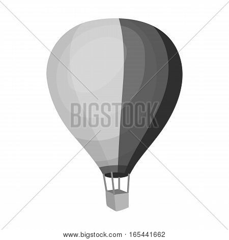 Airballoon icon in monochrome design isolated on white background. Rest and travel symbol stock vector illustration.