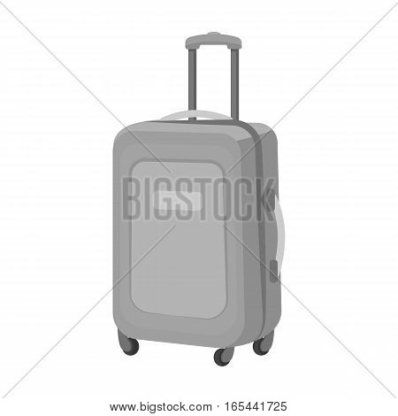 Travel luggage icon in monochrome design isolated on white background. Rest and travel symbol stock vector illustration.