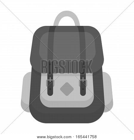 Hipster backpack icon in monochrome design isolated on white background. Hipster style symbol stock vector illustration.