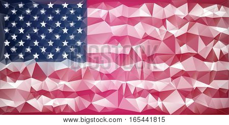 Mosaic usa flag background. Low poly style