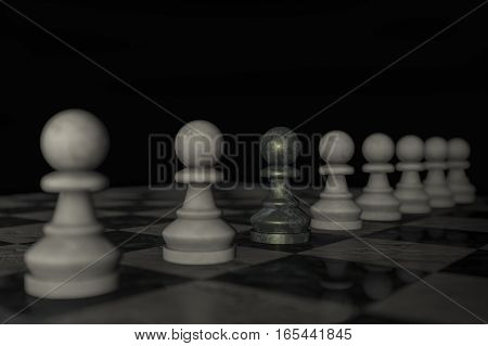 A checkerboard with white figures (3d rendering)
