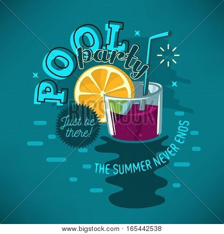 Pool Party Poster Design With Glass Of Cocktail Floating In The Water And Slice Of A Lemon Illustration.  Vector Graphic.