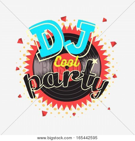 DJ Cool Party 90s Aesthetic Vibrant Colors Poster Design With Vinyl Record Illustration On A White Background.  Vector Graphic.