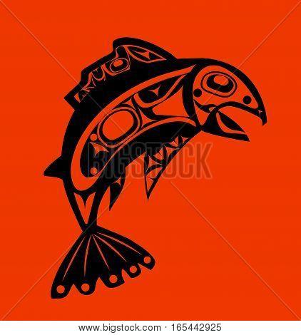 Native fish Vector isolated on orange background