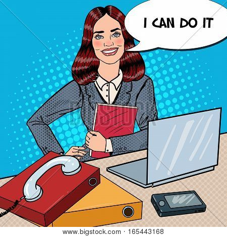 Pop Art Successful Business Woman at Office Work with Laptop. Vector illustration