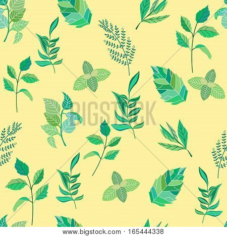 Seamless pattern of various leaves. Vector illustration.