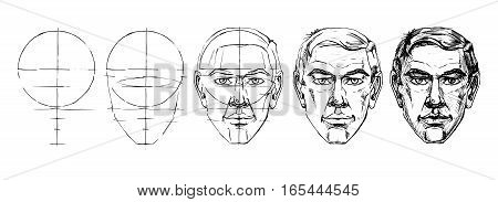 Step by step drawing tutorial of male portrait. Vector illustration.