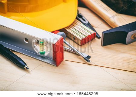 Hand Tools On Wooden Background