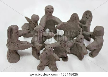 Concept for group of people - clay people, self made