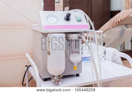 Medical Modern Vacuum Equipment In Clinic. Oxygen And Vacuum Plug.patient Room.selective Focus.