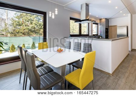 Modern open space dinning room with kitchen