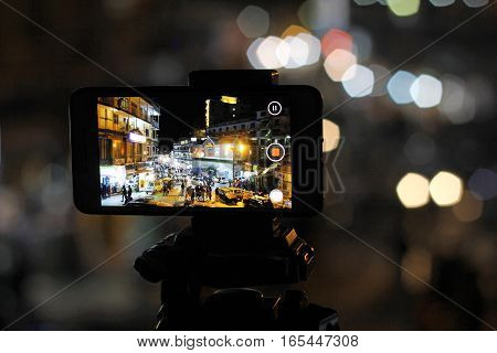 Mobile Timelapes. Mobile recording video at GPO chowk Murree Punjab Pakistan