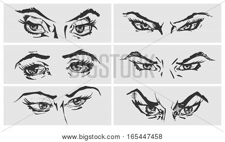 Set of female eyes and brows. Vector illustration in ink hand drawn comics style. Different emotions.