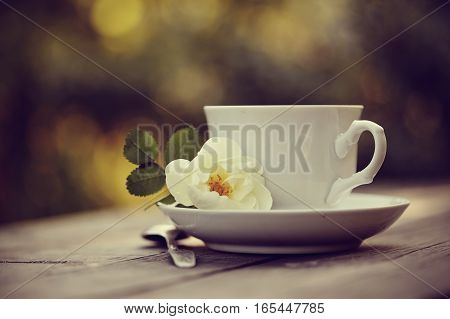 Dogrose and white cup with a spoon on a wooden table.