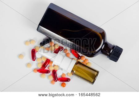Medicines pills on a white background isolation
