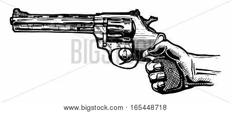 vector illustration of men hand with revolver pistol in ink hand drawn style.