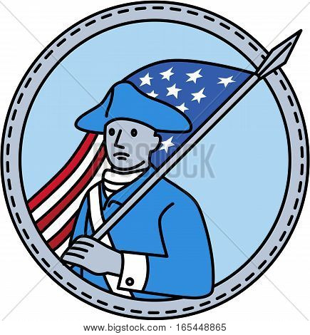 Mono line style illustration of an American revolutionary soldier serviceman holding USA stars and stripes flag on shoulder set inside circle on isolated background.