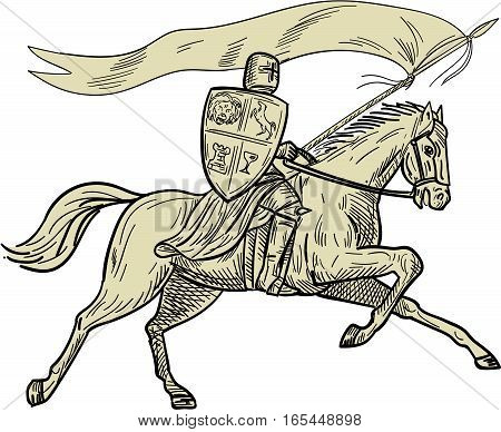 Drawing sketch style illustration of knight horseback in full armor holding lance shield and flag riding horse viewed from the side on isolated white background done.