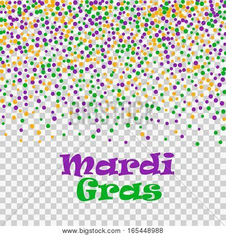 Mardi Gras confetti dots isolated on transparent background. Vector illustration of colorful scattered dust. For sale gift card, certificate, voucher