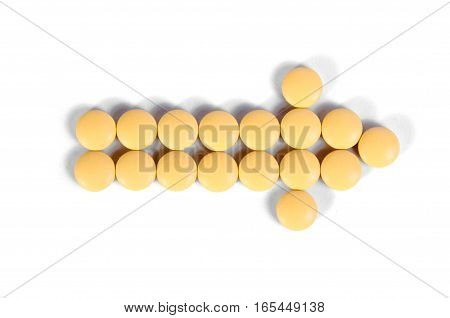 Medicine pills on a white background isolation