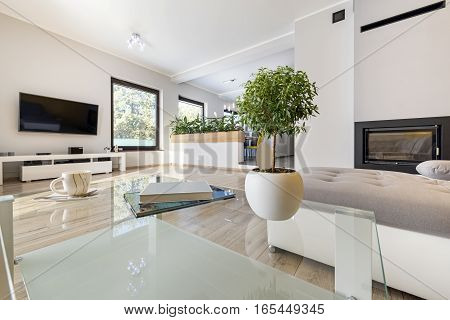 View of interior modern living room with wooden floor and fireplace
