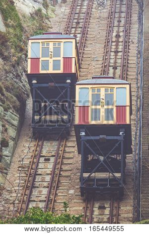 The East Hill Cliff Funicular cable lift Railway in Hastings on a cold winter day