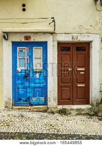 Portugal Lisbon, View with Doors in Alfama Neighbourhood.