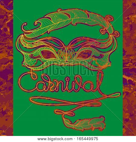 Vector Greeting card with line  mask, feather and handwritten word Carnival on a dark violet background. Traditional festive pattern. Decoration element in doodle style.