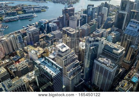SYDNEY - JULY 14:  The Sydney CBD view from tower on July 14th 2014. in Sydney, Australia.